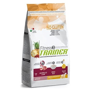 Trainer (Nova Foods) - Fitness 3 No Gluten Adult Medium & Maxi con Agnello, Riso e Olio