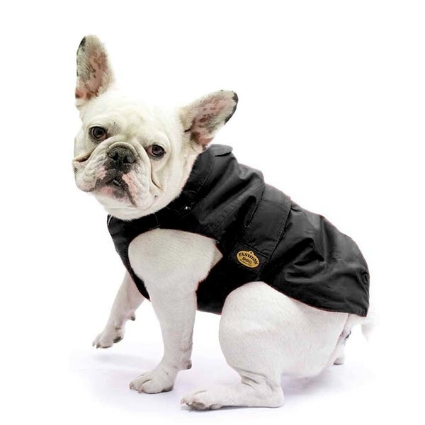 Fashion Dog - Cappotto Impermeabile con Imbottitura Staccabile Nero per Carlino