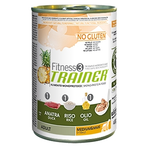 Fitness 3 No Gluten Adult Medium & Maxi con Anatra, Riso e Olio - Trainer