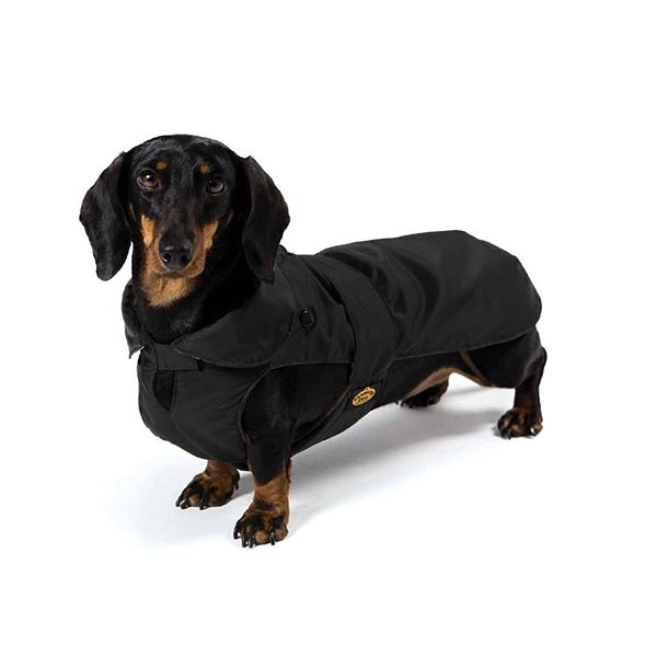 Cappotto Impermeabile con Imbottitura Staccabile Nero per Bassotto - Fashion Dog