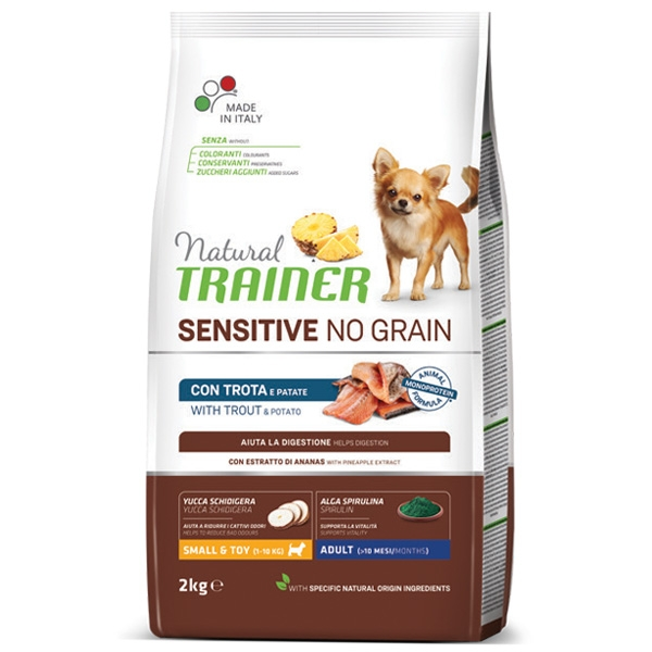 Natural Sensitive No Grain Small & Toy Adult con Trota e Cereali Integrali - Trainer