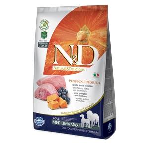 Natural & Delicious Pumpkin Grain Free Adult Medium & Maxi con Agnello, Zucca e Mirtillo - Farmina (Russo Mangimi)